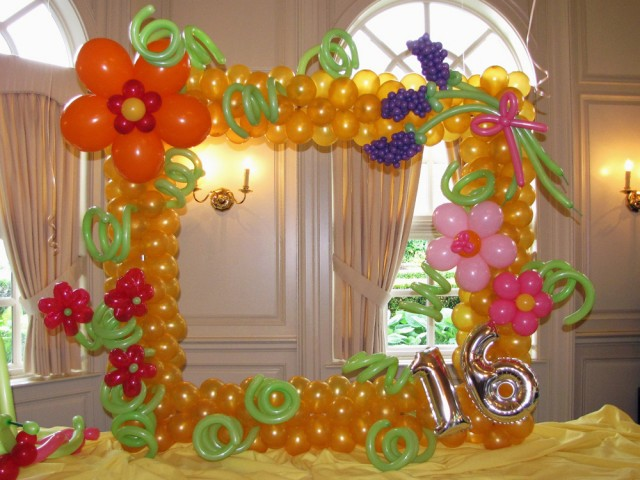 Sweet 16 Frame of Flowers Photo Backdrop