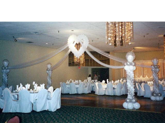Wedding Heart Drape to Stylized Columns